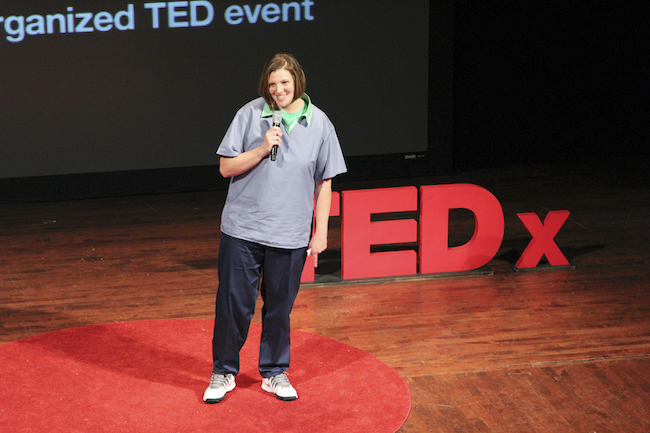 Gabrielle Crosby at TEDxColumbus, the first prisoner to speak on a public TEDx stage
